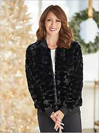 Faux Fur Zip Bomber Jacket by Alfred Dunner
