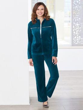 Sparkle Ribbed Velour Jacket & Velour Pants by D&D Lifestyle™