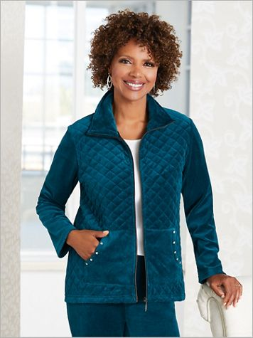 Quilted Sparkle Velour Jacket by D&D Lifestyle™ - Image 1 of 3