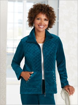 Quilted Sparkle Velour Jacket by D&D Lifestyle™