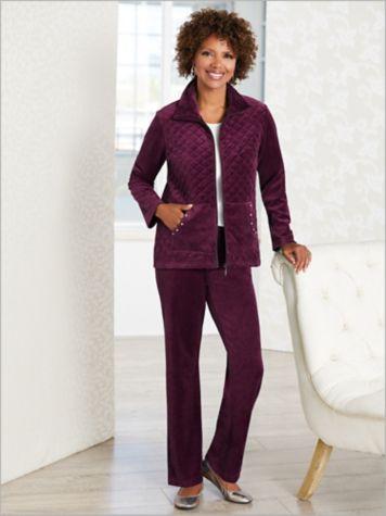 Quilted Sparkle Velour Jacket & Velour Pants by D&D Lifestyle™