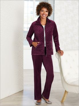 Quilted Sparkle Velour Jacket & Velour Pants by D&D Lifestyle™