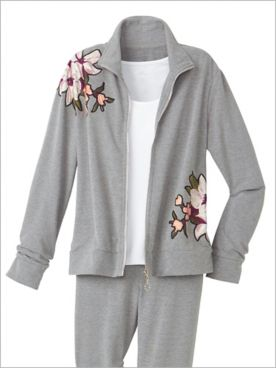 Embroidered Appliqué French Terry Jacket