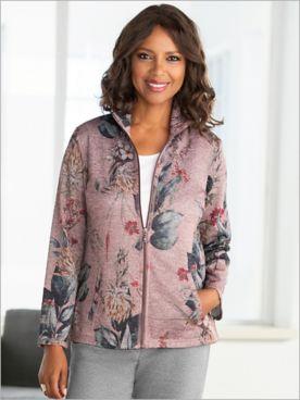 Printed Floral Zip Front Jacket