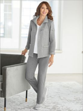 Quilted Zip Front Jacket & French Terry Pants