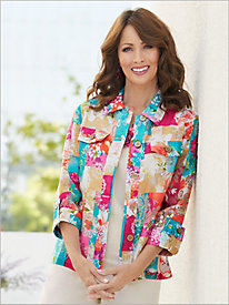 Tile Print Burnout Shirt Jacket