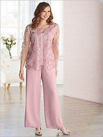 Floral Lace Scallop Twin Set & Chiffon Pants by Alex Evenings