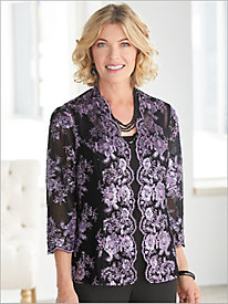 Embroidered Sequin Floral Twin Set by Alex Evenings