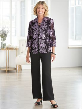 Alex Evenings Embroidered Sequin Floral Twin Set & Georgette Pants