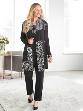 Animal Sparkle Blocks Jacket & Signature Knits® Separates