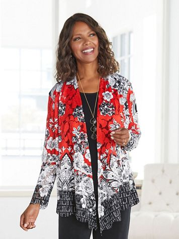 Sketch Floral Border Print Jacket - Image 1 of 5