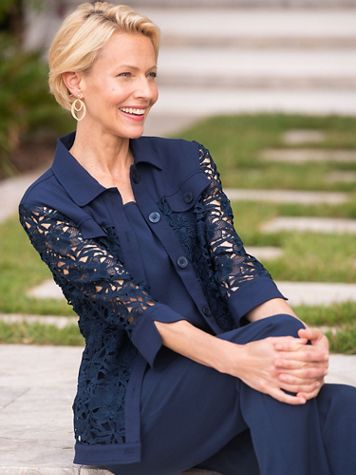 Laguna Linen And Lace Jacket - Image 1 of 7