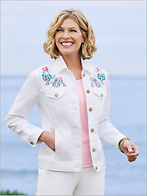 Slimtacular® Embroidered Denim Jacket