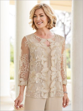 Alex Evenings Scallop Lace Special Occasion Twin Set - Image 2 of 2