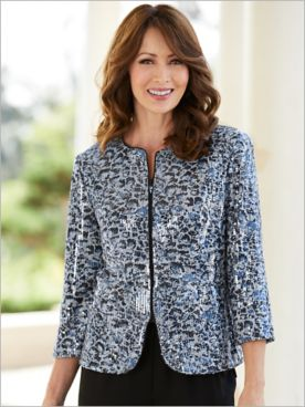 Alex Evenings Lovely Leopard Special Occasion Jacket