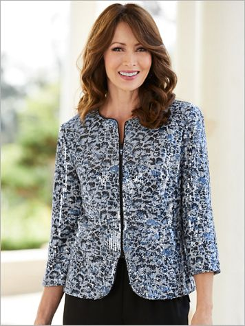 Alex Evenings Lovely Leopard Special Occasion Jacket - Image 2 of 2