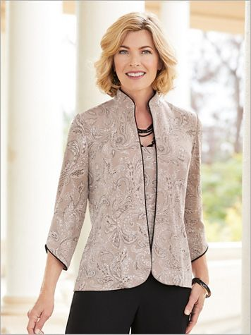 Alex Evenings Mandarin Paisley Knit Special Occasion Twin Set - Image 3 of 3
