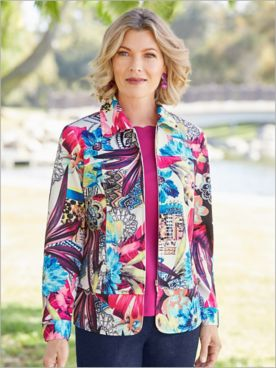 Floral Mosaic Knit Jacket
