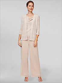 Zip Zag Printed Twin Set & Chiffon Pants by Alex Evenings