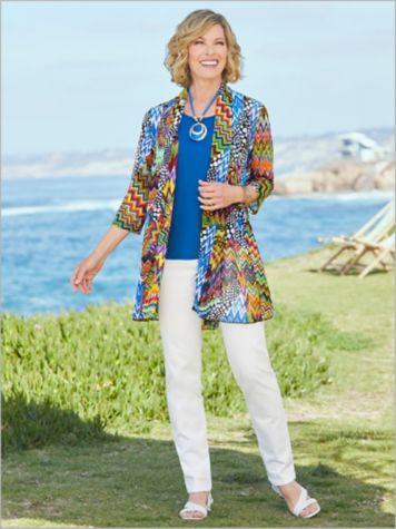 Zig Zag Print Mesh Jacket & Slimtacular® Pants