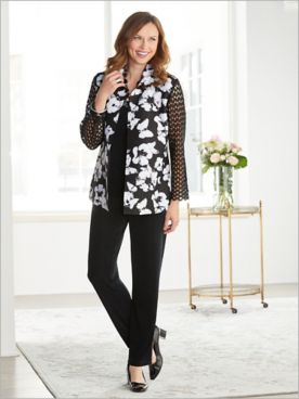Lace Floral Plisse Jacket & Signature Knits® Separates
