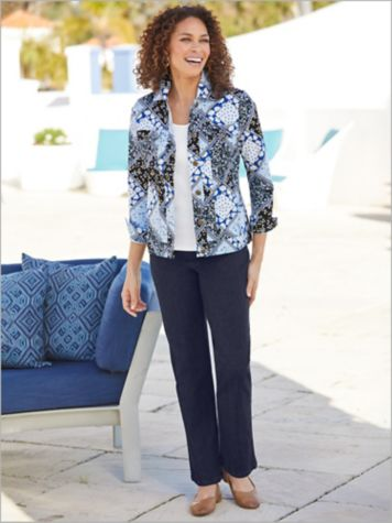 Calico Patchwork Jacket & Slimtacular Denim Pants
