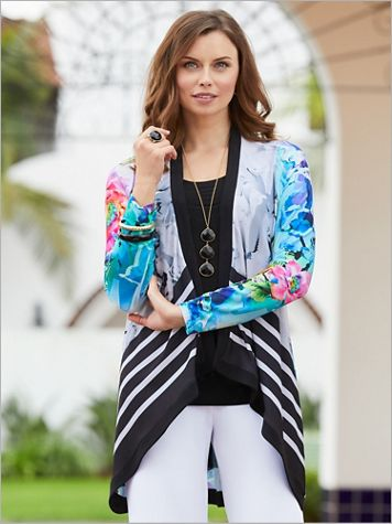 Blue Breeze Print Jacket by Picadilly - Image 1 of 2