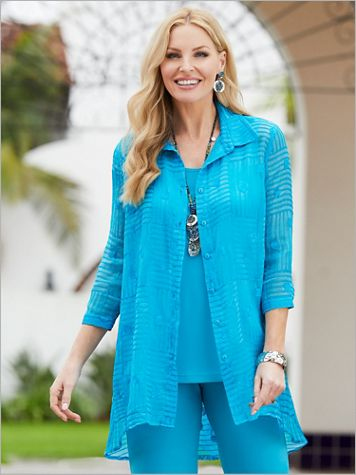 Blue Breeze Shirt Jacket by Picadilly - Image 2 of 2