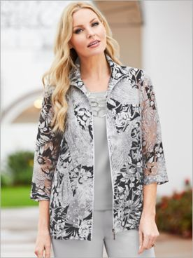 Mosaic Floral Burnout Jacket