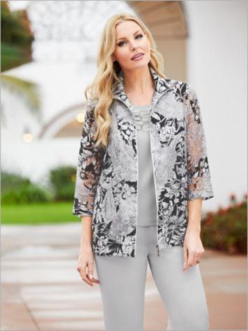 Mosaic Floral Burnout Jacket & Look-Of-Linen Separates