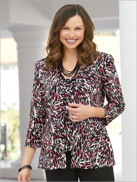 Alex Evenings Painterly Printed Special Occasion Knit Twin Set