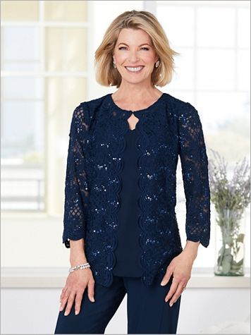 Alex Evenings Sequin Scalloped Lace Special Occasion Twin Set - Image 1 of 3