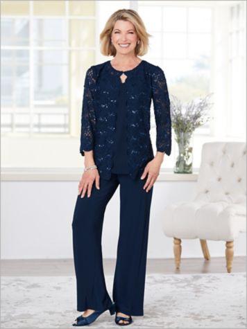 Sequin Scalloped Lace Twin Set & Chiffon Pants by Alex Evenings