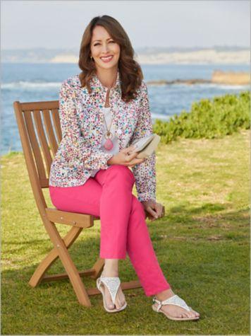 Ditsy Daisy Eyelet Jacket & Slimtacular® De-Luxe Denim Pants