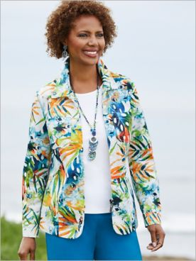 Tropical Palm Leaf Print Jacket