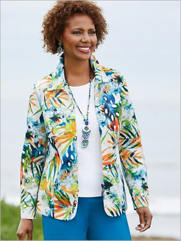 Tropical Palm Leaf Print Jacket - Image 2 of 2