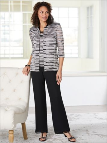 Alex Evenings Sparkle Stripe Twin Set & Georgette Slim Leg Pants