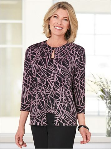 Alex Evenings Line It Up Sparkle Special Occasion Knit Twin Set - Image 2 of 2
