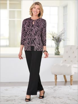 Alex Evenings Line It Up Sparkle Twin Set & Georgette Pants