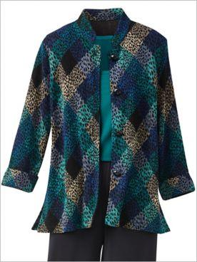 Diamond Textured Knit Long Sleeve Jacket