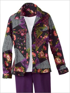 Floral Patchwork Woven Long Sleeve Jacket