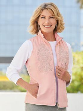 D&D Lifestyle™ Reversible Microfiber Embroidered Zip-Up Vest