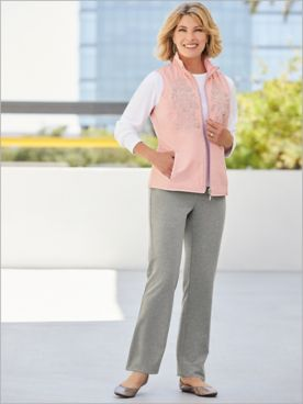 Reversible Microfiber Embroidered Vest & Go Everywhere Pants