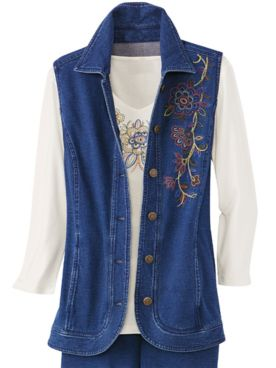 Embroidered Comfort Knit Denim Vest