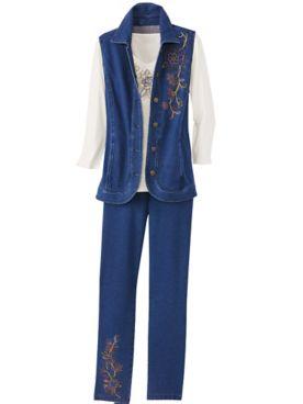 Embroidered Comfort Knit Denim Vest & Embroidered Denim Pants