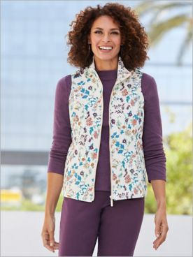 Fairytale Cotton Twill Fleece Zip-Up Vest
