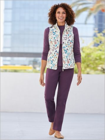 Fairytale Floral Vest & Slimtacular® Denim Slim Leg Pants