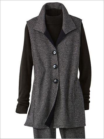Check Knit Button Front Vest