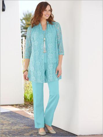 Luxe Floral Lace Jacket & Herringbone Pants