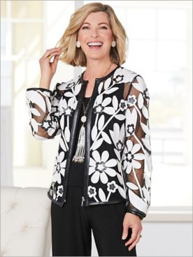 Blossoming Appliqué Mesh Jacket